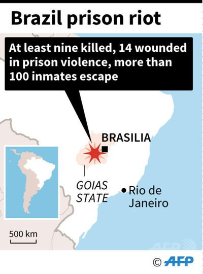 ブラジルの刑務所で暴動、9人死亡100人超脱走