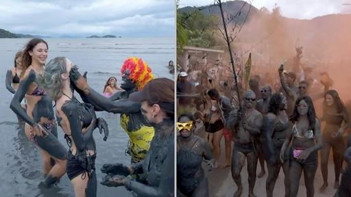 動画:大人も子どもも大はしゃぎ! ブラジルで「泥の祭り」開催