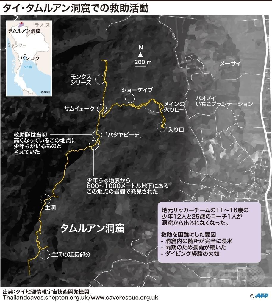 【図解】タイ・タムルアン洞窟での救助活動