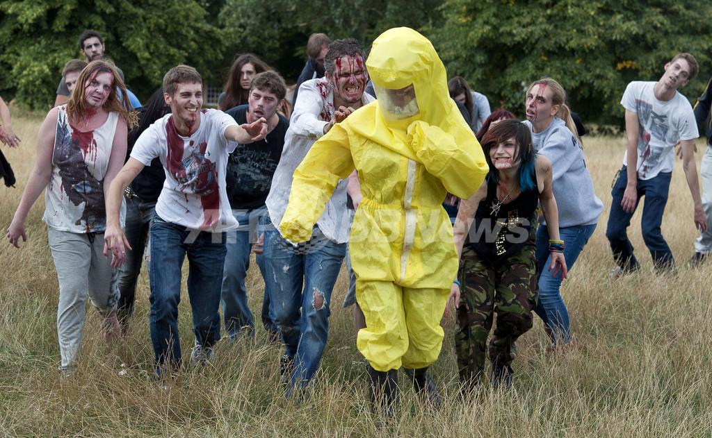 ゾンビから逃げる訓練、英ロンドンで実施