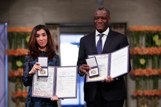 平和賞2氏、紛争下のレイプ被害者保護を訴え ノーベル受賞演説