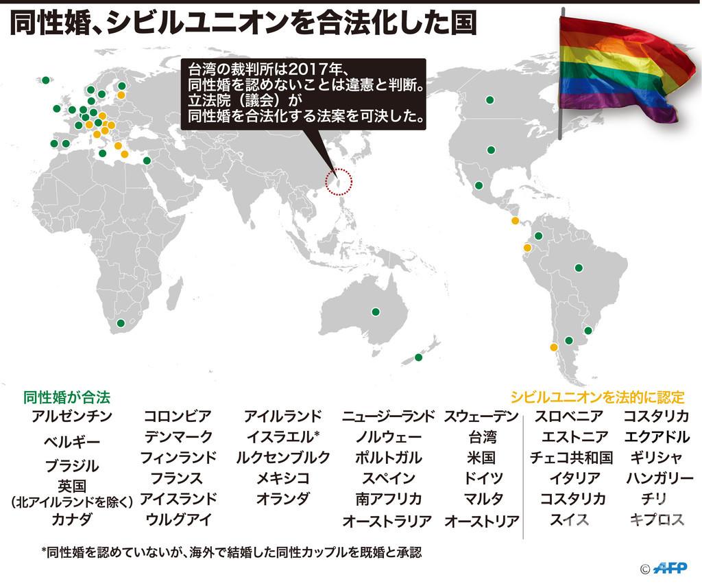 台湾、同性婚認める法案を可決 アジア初