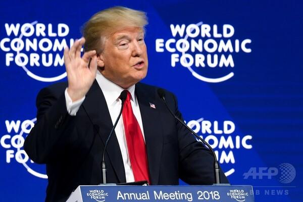 米大統領、ダボス演説で好調経済アピール メディア批判にやじも