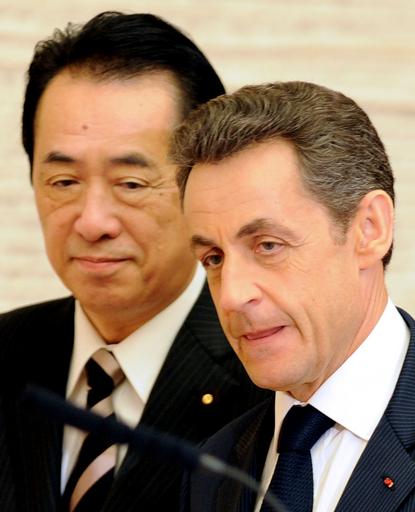 サルコジ仏大統領、菅首相と会談 原発事故処理支援を表明