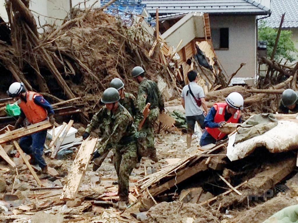 広島土砂災害、死者39人に 不明者7人の捜索続く