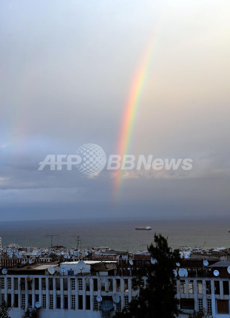 アルジェリアの空にかかる虹