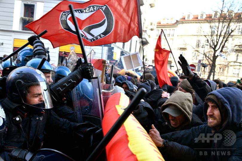 イタリア各地でデモ、散発的な衝突も 総選挙前に緊張高まる