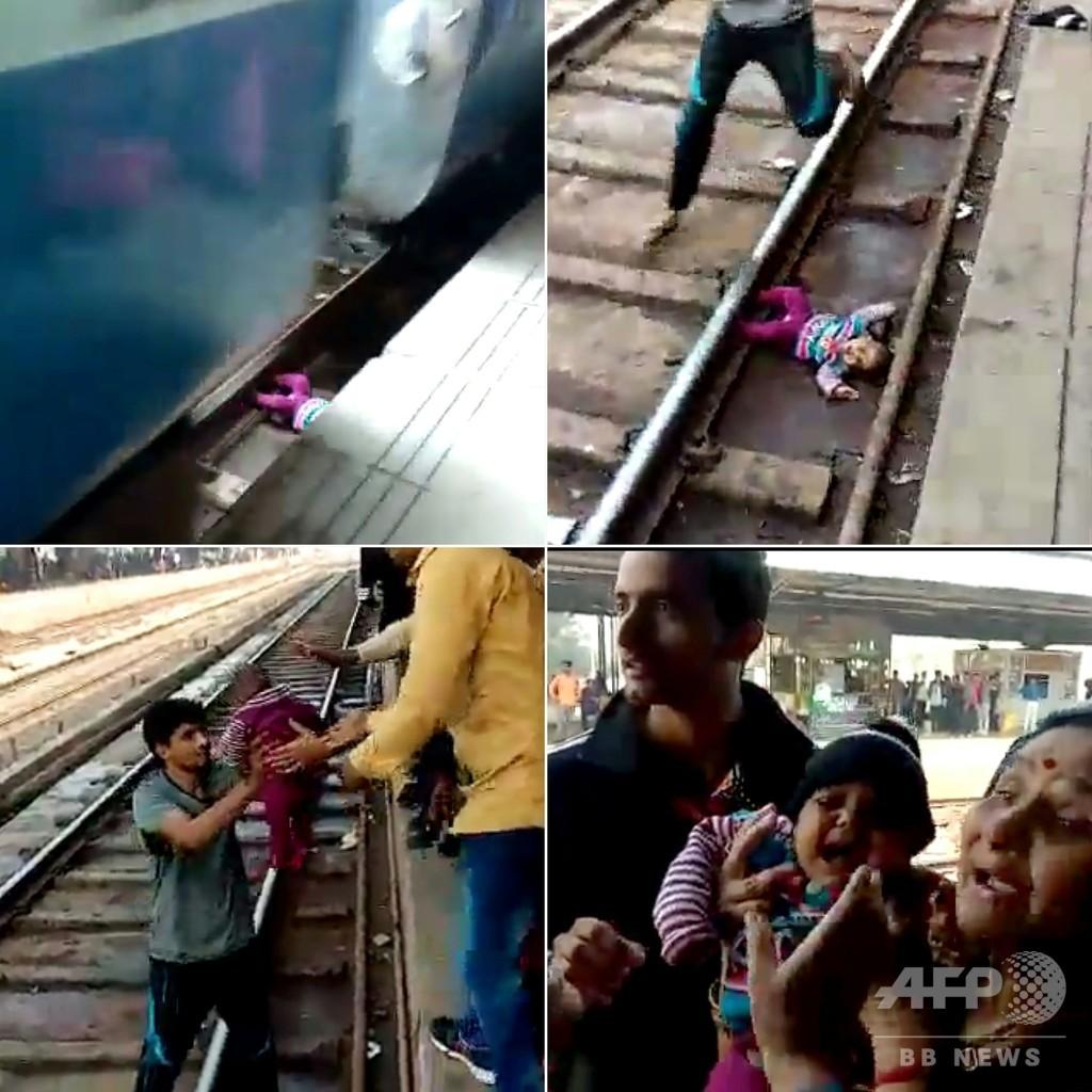 1歳女児が線路に転落、列車が真上を通過…奇跡的に無傷 インド