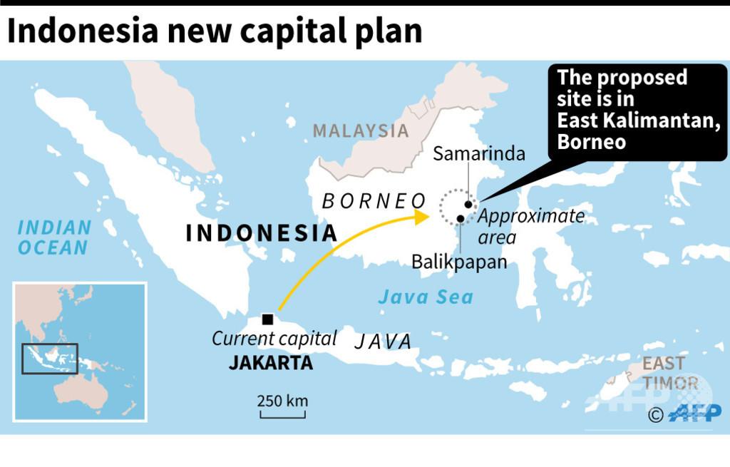 インドネシア、新首都にカリマンタン島の東端を選定