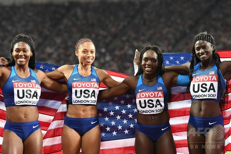 米国が女子4×100mリレー優勝、フェリックスは最多15個目のメダル獲得