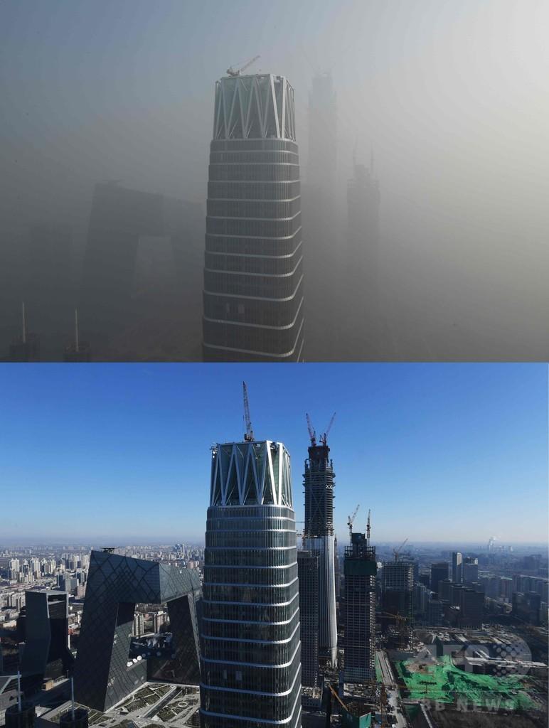 北京、大気汚染で新年迎える PM2.5濃度、基準の20倍