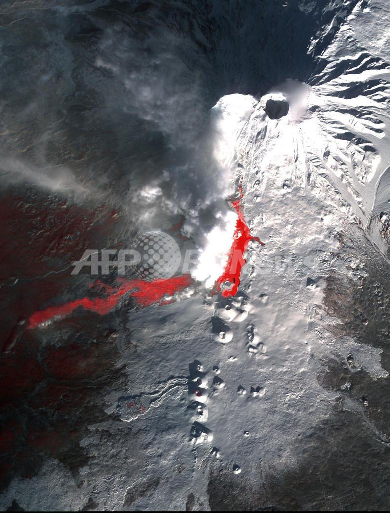 雪の火山から流れる溶岩、カムチャッカ半島