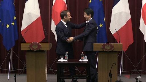 動画:仏大統領が来日、G20控え 首脳会談で強固な日仏関係強調