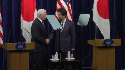 動画:安倍首相、来日中のペンス米副大統領と会談