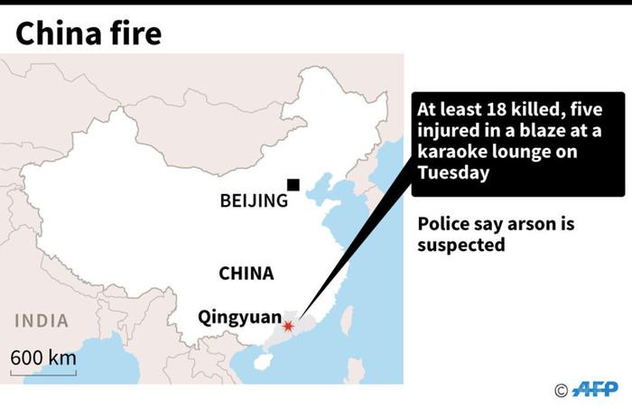 中国のカラオケ店で火災、18人死亡 放火容疑で男を逮捕