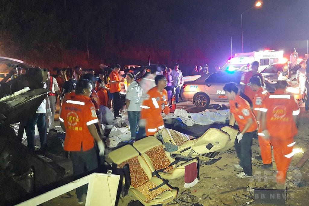 タイでバス事故、18人死亡 コントロール失い木に衝突か