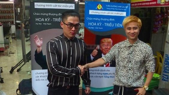 動画:トランプ&正恩カット、米朝首脳会談で無料サービス ベトナム理髪店
