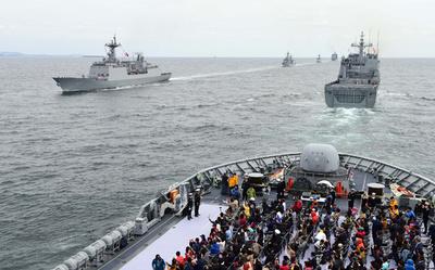 韓国・済州島で国際観艦式開幕、旭日旗問題で自衛艦は派遣せず