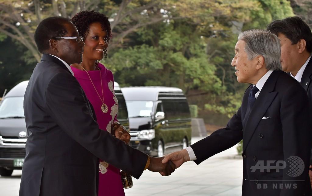 ジンバブエのムガベ大統領夫妻、皇居で両陛下と懇談