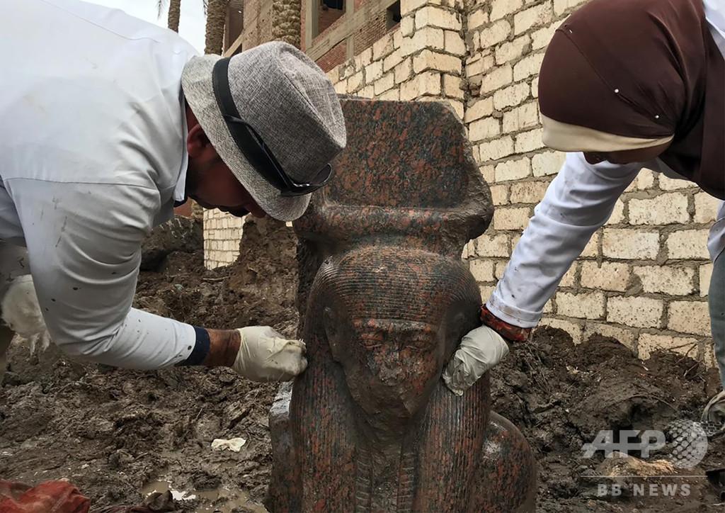ラムセス2世の「希少な」胸像、ギザ近郊で発見 エジプト