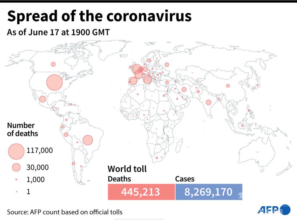 新型コロナウイルス、現在の感染者・死者数(18日午前4時時点) 死者44.5万人に
