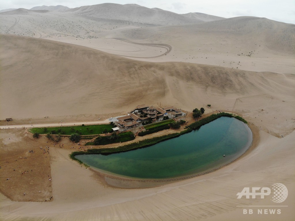 敦煌の月牙泉、地下水脈が回復 湖面が増大し豊かな姿に
