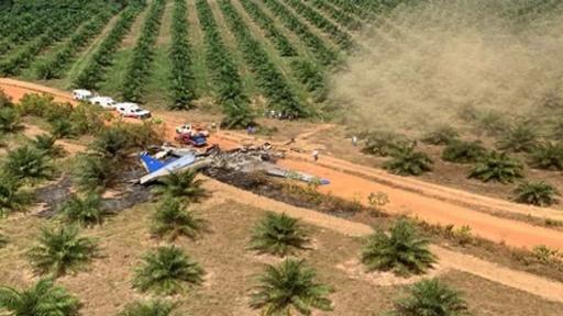動画:コロンビアで旅客機が墜落、乗客乗員12人死亡 事故現場の映像