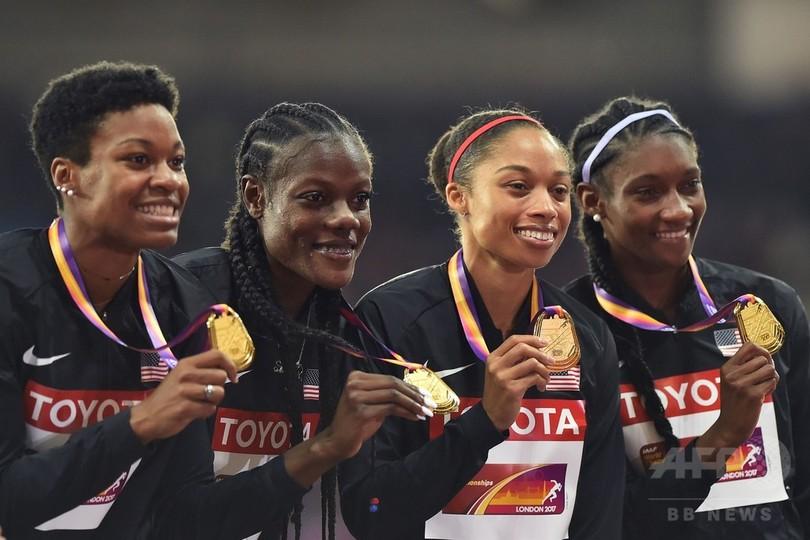 フェリックスが世界陸上16個目のメダル、米国が4×400mリレー制覇