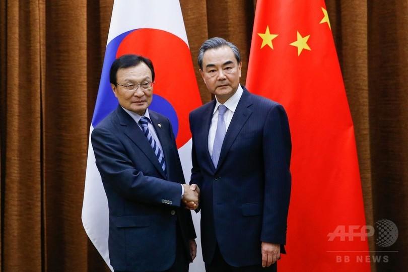 中国外相、THAAD配備の韓国に「障害物の除去」求める