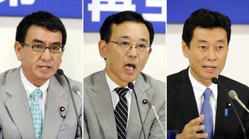 自民党総裁選がスタート、谷垣、河野、西村3氏が立候補届け出