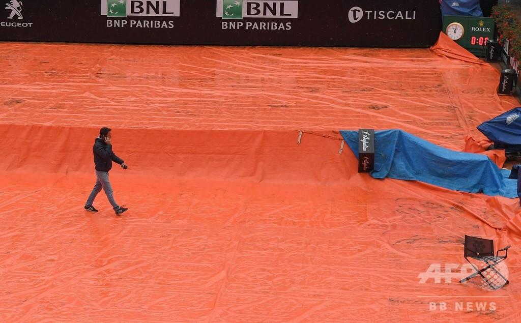 イタリア国際の全試合が雨天順延、フェデラー復帰戦は持ち越し