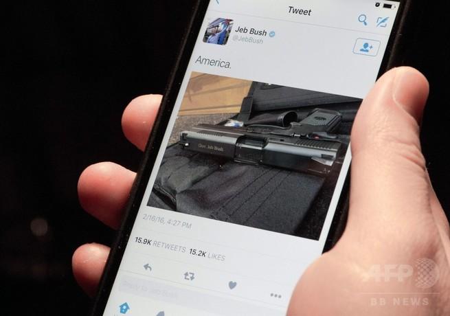 ジェブ・ブッシュ氏、拳銃画像ツイートで物議