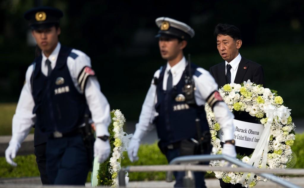 オバマ米大統領の花輪届く 広島・平和記念公園
