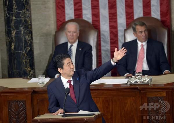 安倍首相、米議会で歴史的演説 大戦の犠牲者に「とこしえの哀悼」