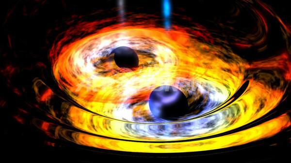 合体していくブラックホールの想像図を公開、NASA