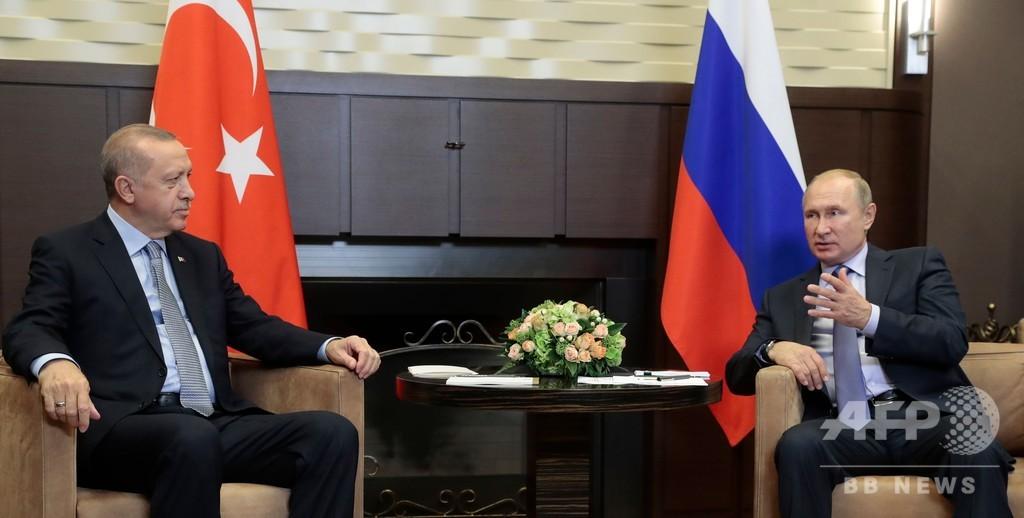 プーチン大統領、ロシアでトルコ大統領と会談 シリア情勢めぐり