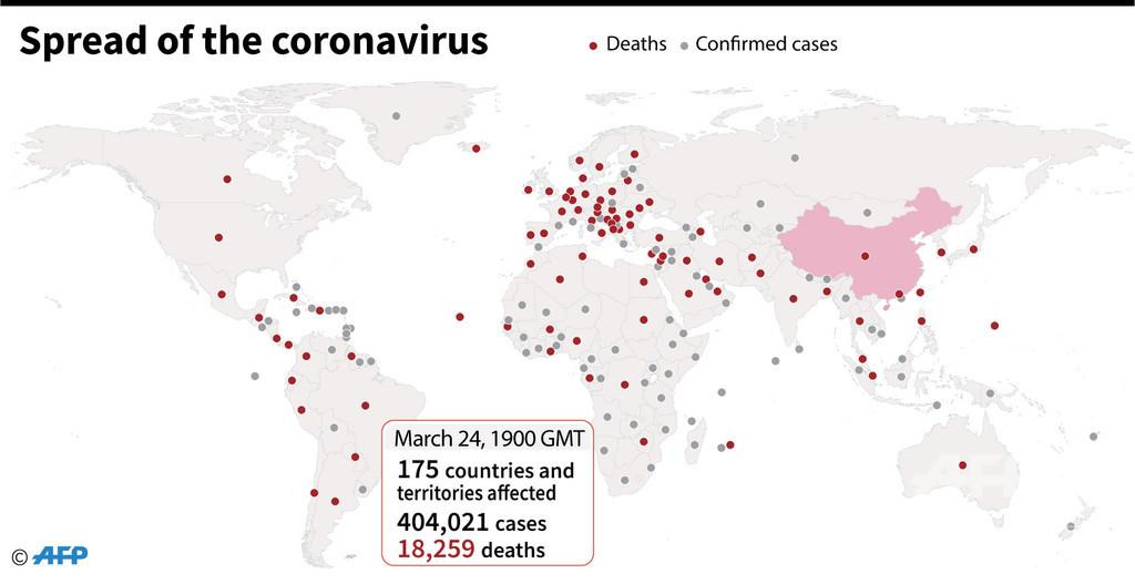 新型コロナウイルス、現在の感染者・死者数(25日午前4時時点)