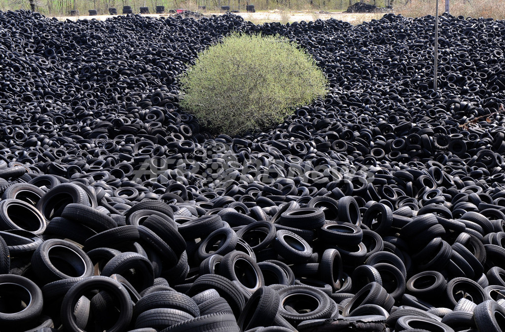 フランスの田園に廃タイヤの山