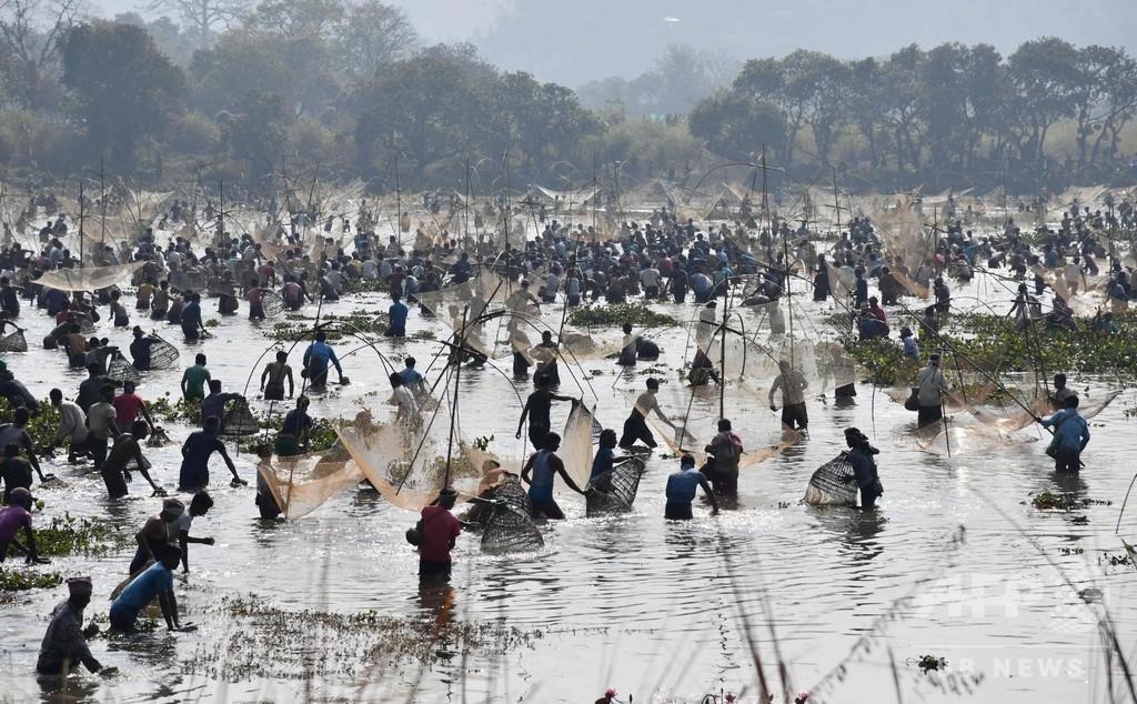 インド北東部アッサム州で収穫祭、大勢で魚捕り