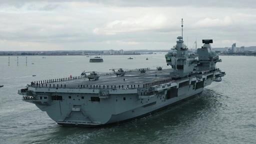 動画:英海軍の空母「プリンス・オブ・ウェールズ」、ポーツマスに初入港