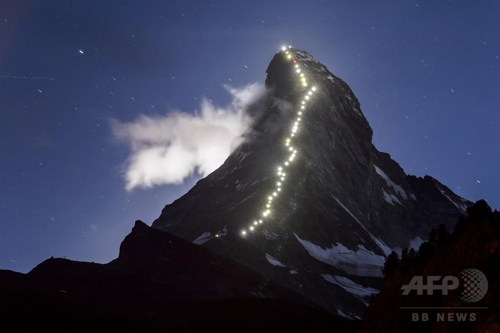 マッターホルン初登頂から150年、登山路に明かり