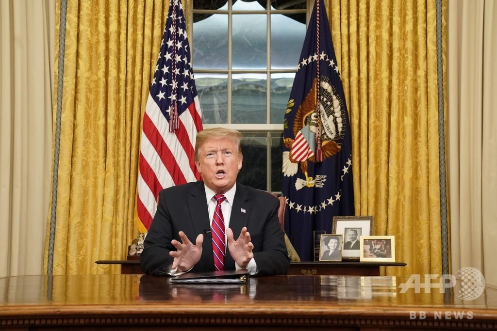 トランプ米大統領、国民に向け演説 対メキシコ国境「人道上、治安上の危機」