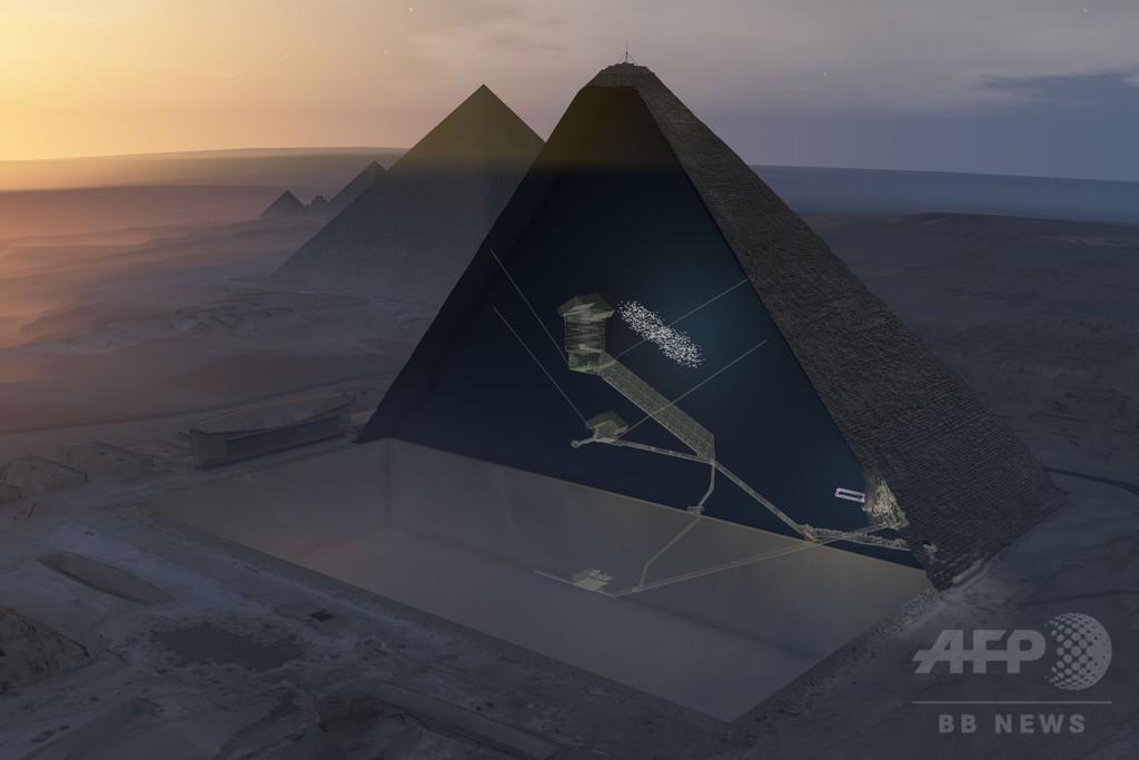 エジプトの大ピラミッド内に「旅客機大の空洞」、専門家らが発見