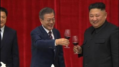 動画:南北両首脳が会談、晩さん会も