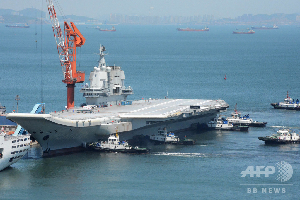 中国初の国産空母「山東」、また台湾海峡を航行