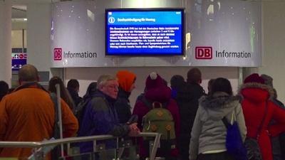 動画:ドイツで賃上げ求め鉄道スト、数百万人の足に影響