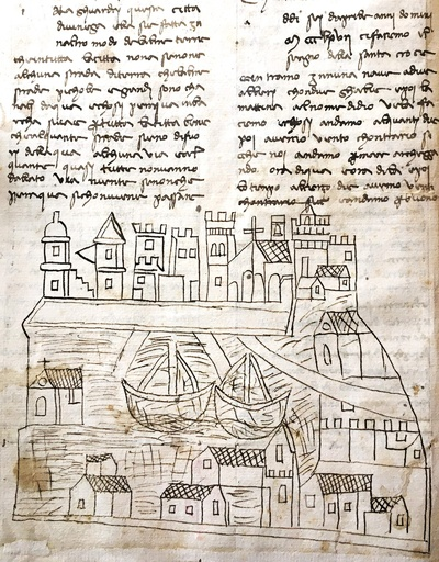 最古のベネチア風景画を発見、14世紀の巡礼手稿から