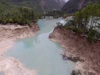空から見た地震後の九寨溝 四川