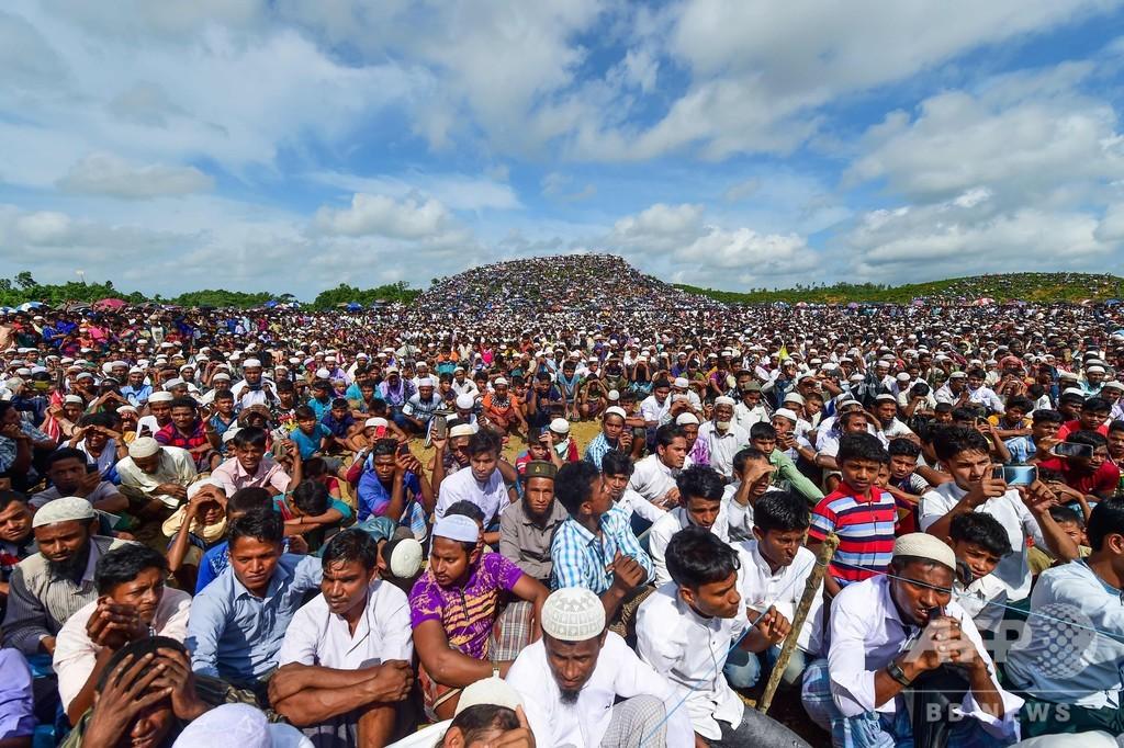 大弾圧から2年、ロヒンギャ20万人が難民キャンプで集会 バングラ
