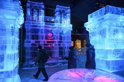 世界の名所や名画が氷像に、氷の滑り台も モスクワ